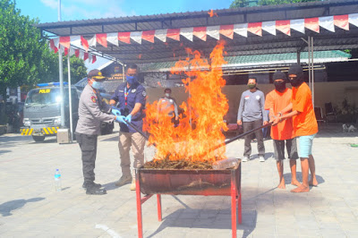 Sabu 3 Kilogram Diblender dan Ganja 6 Kilogram Dibakar di Polresta Mataram