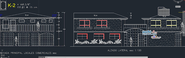 Bedroom split level house in AutoCAD