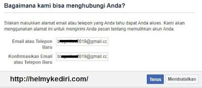 masukkan email fb baru