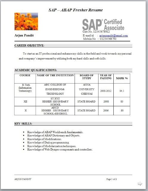 resume covering letter for freshers