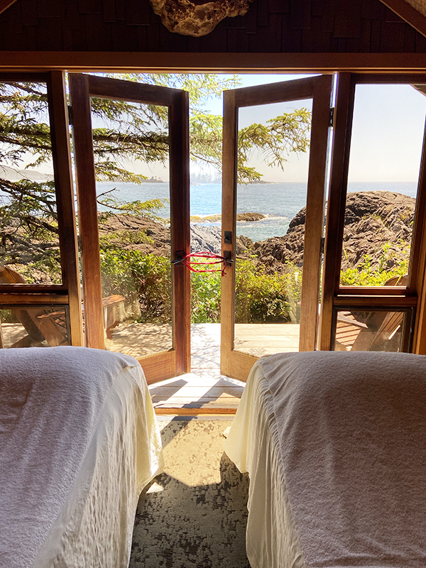 Private couples' massage and treatment room overlooking the ocean waves. Wickaninnish Inn, Tofino.