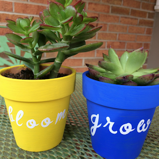 Painted Terra Cotta Pots with Cricut vinyl