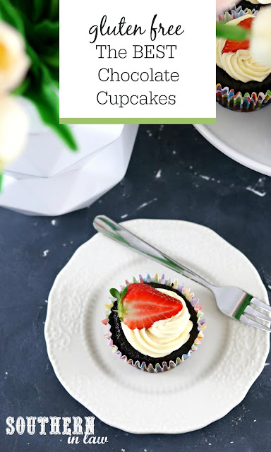The Best Gluten Free Chocolate Cupcakes Recipe - Easy moist chocolate cupcakes with boiling water, cupcakes without butter, gluten free buttercream frosting recipe