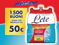 Logo Con Acqua Lete ''Bevi, scopri, vinci '' : 1500 Ticket Compliments da 50 euro