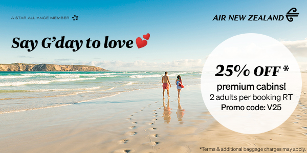 Air New Zealand Valentine's Day Sale - 25% off premium fares out of Canada when booking for two