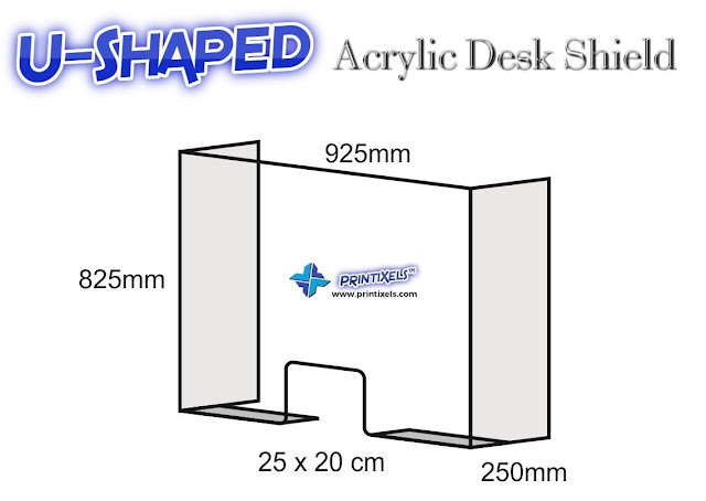 U-Shaped Acrylic Desk Shield