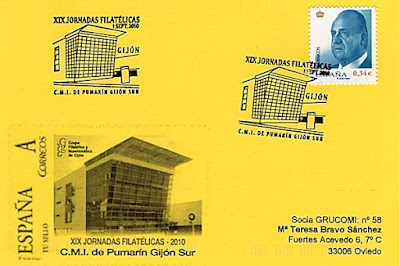 Tarjeta del matasellos en Gijón con motivo de las XIX Jornadas filatélicas del Grupo Filatélico y Numismático