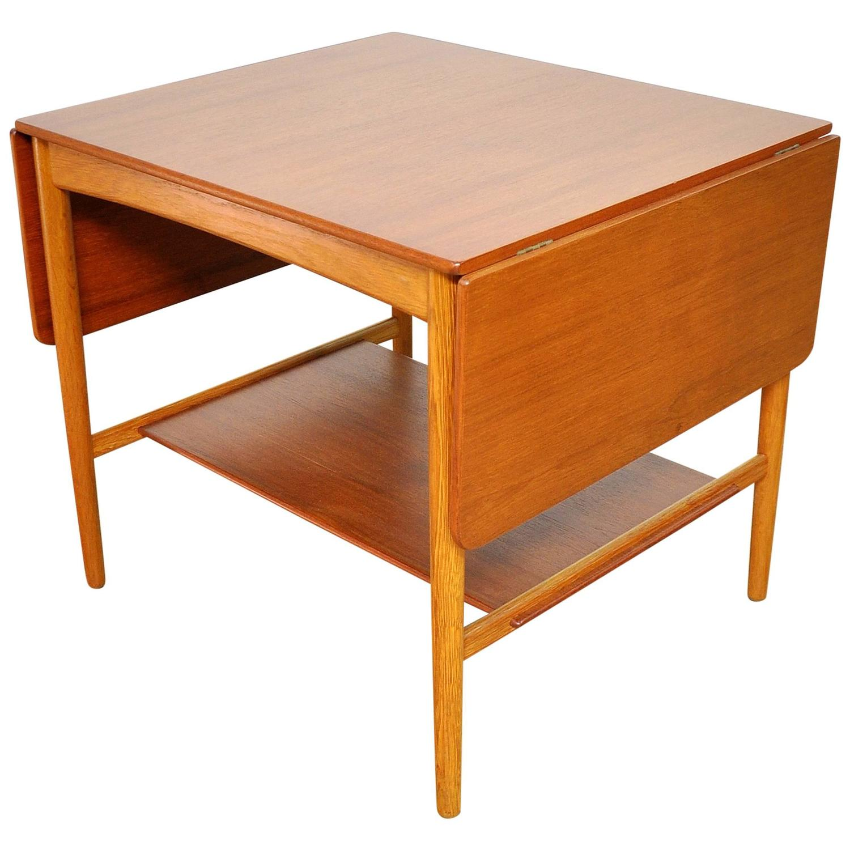 Select modern hans j wegner teak and oak at32 drop leaf for Coffee table side
