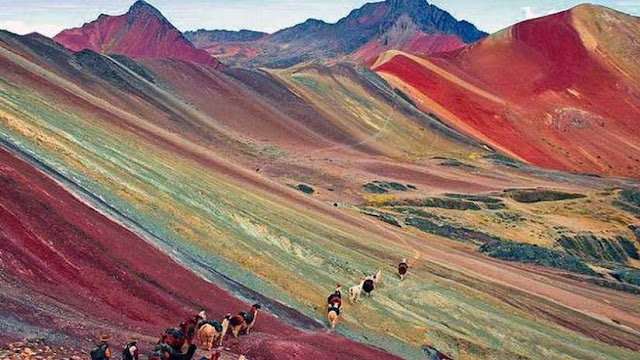 A view of the Seven Color Mountain in Peru.