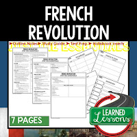 French Revolution, World History Outline Notes, World History Test Prep, World History Test Review, World History Study Guide, World History Summer School Outline, World History Unit Overview, World History Interactive Notebook Inserts