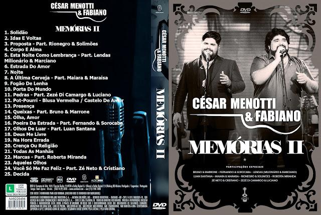 Capa DVD César Menotti & Fabiano: Memórias II [Custom]