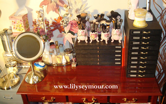 Makeup Organization Storage Featuring Black Leatherettes