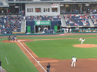 First pitch, Flying Squirrels vs. Yard Goats