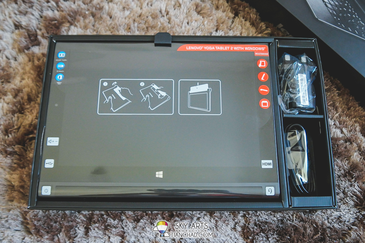 "A 10.1"" Lenovo Yoga Tablet 2 with Windows together with power adaptors and cable"