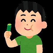 キュウリをかじる人のイラスト(男性)