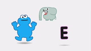 Cartoon animated Cookie Monster, E sound, elephant, Sesame Street Episode 4315 Abby Thinks Oscar is a Prince season 43