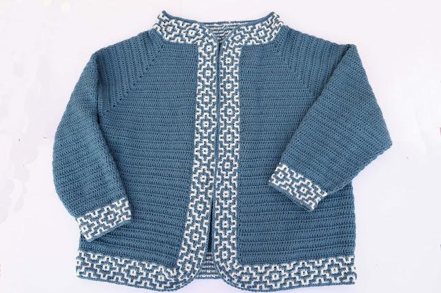 7 - Crochet Imagen Chaqueta azul a crochet y ganchillo por Majovel Crochet