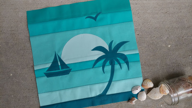 Beach sunset quilt block