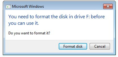 USB DRIVE ERROR