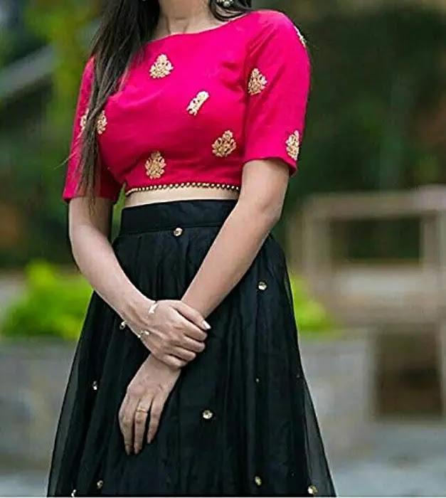 Women's net Lehenga Choli (yami pinkblack_ Black_ X-Large)