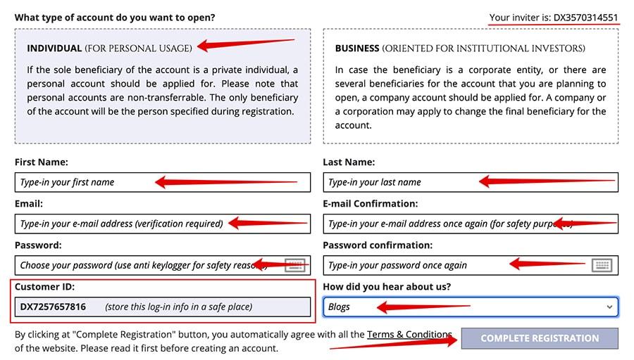 Регистрация в Dexau Enterprise