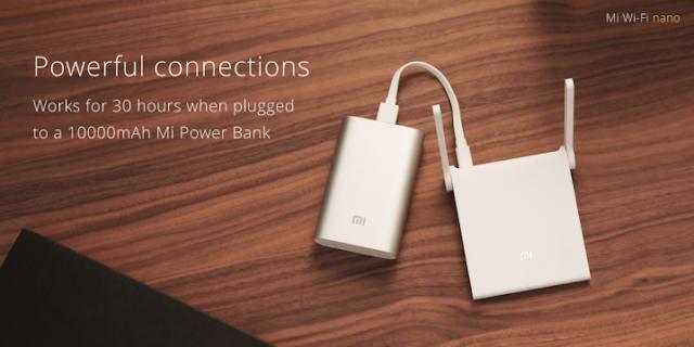 Xiaomi Mi Wifi Nano ligado na power bank