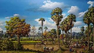 suasana pedesaan indah  jaman dahulu