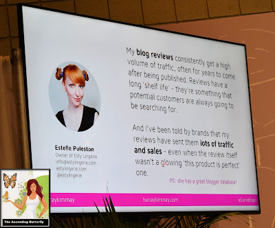 "@HurrayKimmay ""How Retailers Can Work with the Media and Influencers"" panel at CURVEXPO CURVE NEW YORK Kayla Boyd quote Estelle Puleston slide"