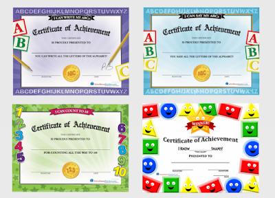 preschool achievement certificates
