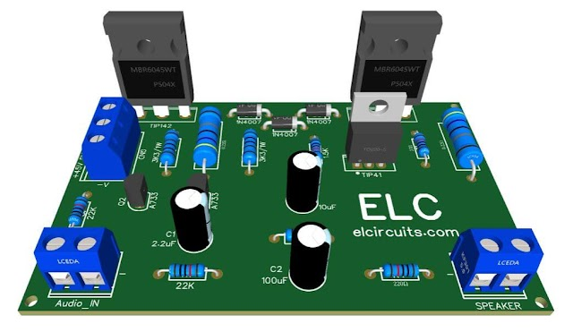Simple 100W Power Amplifier with  TIP142 NPN and TIP147 PNP transistors + PCB