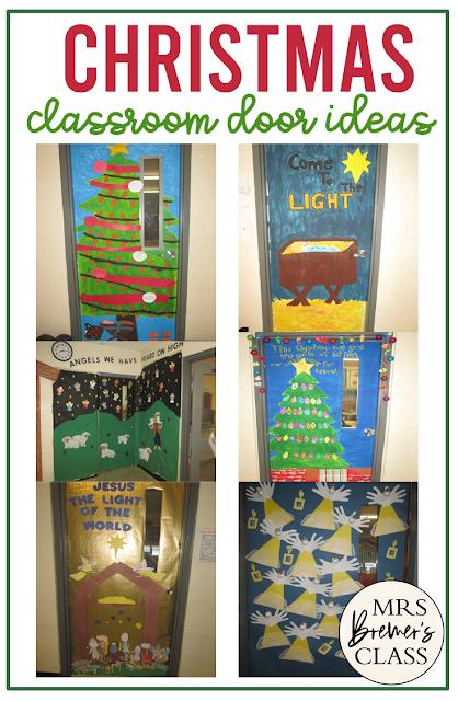 Christmas Holiday themed classroom door decor ideas