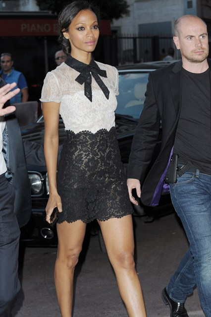 Zoe Saldana in a black and white, lace Valentino outfit while out in Cannes 2014