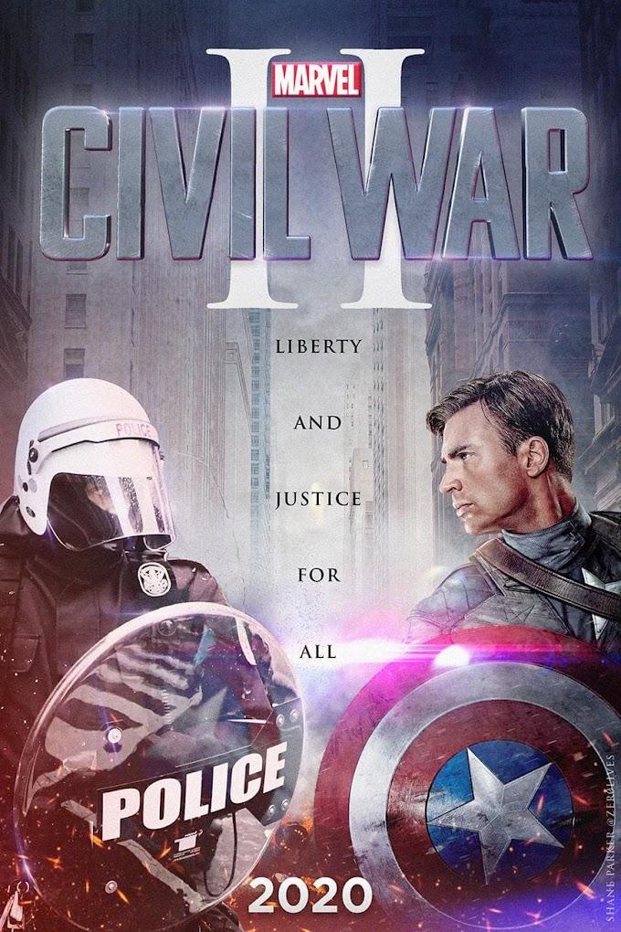 「キャプテン・アメリカ : シビル・ウォー」の2020年バージョン‼️というジョージ・フロイド抗議ネタのパロディ‼️