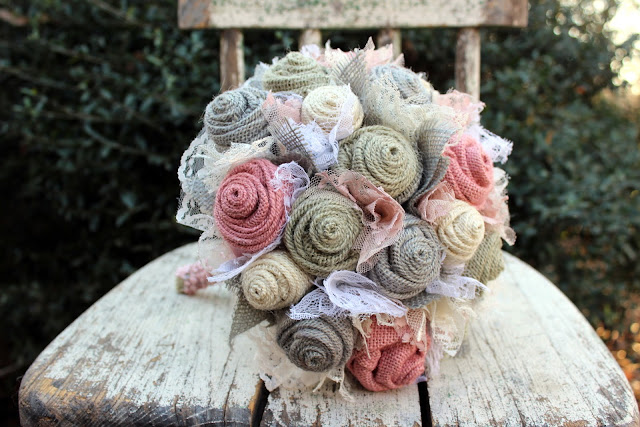 pastel burlap and lace bridal bouquet