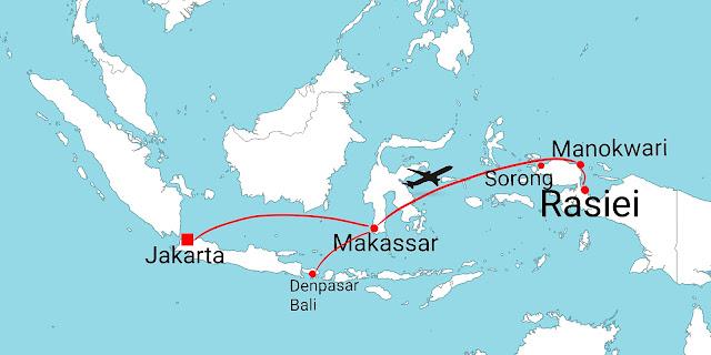 Flight route from Jakarta and Denpasar to Manokwari city and to Rasiei town of Teluk Wondama regency