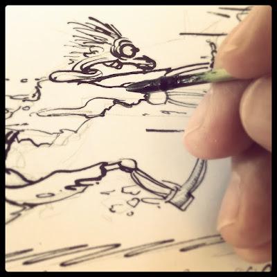 MirRoy zeichnet beim Spittaler Comiczeichner Stammtisch