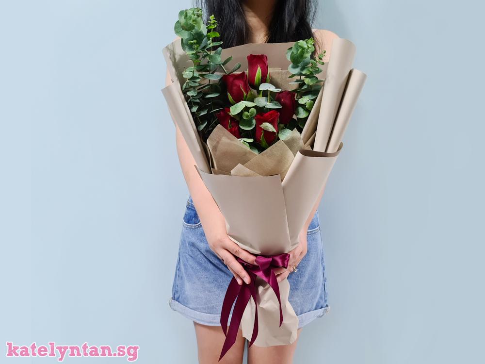 Rose and Eucalyptus flower bouquet from Little Flower Hut Singapore florist
