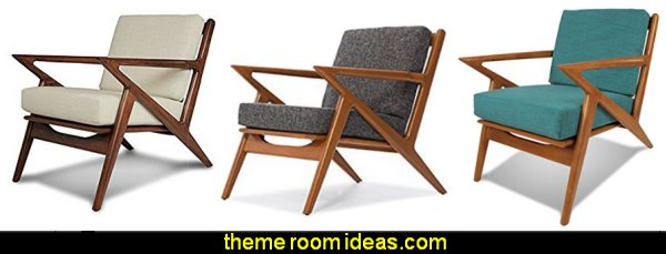 Modern Mid-Century Danish Z Chairs - Accent Chairs mod retro home decor