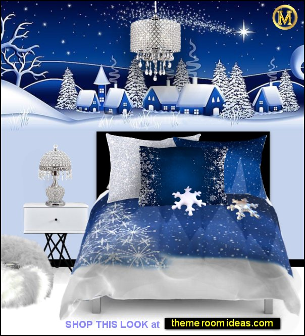 snowy Christmas Tree Holiday decorating christmas bedding Snowflake pillows christmas decorations