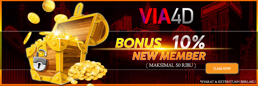 Via4D - Bonus New Member Togel 10% (Max 50.000)