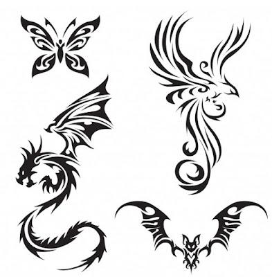 dragon, Tribal , tattoo