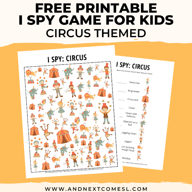 Free I spy game printable for kids: circus themed