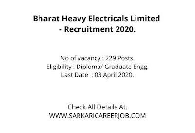 BHEL Vacancy 2020 | 229 Engineer Post Jobs in BHEL Carriers 2020.