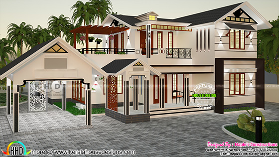 Modern sloping roof 2500 sq-ft house