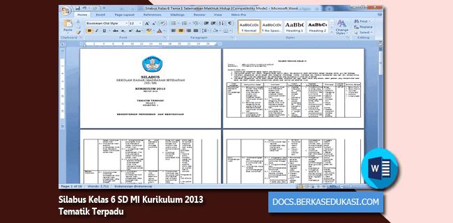 Silabus Kelas 6 SD MI Kurikulum 2013 Tematik Terpadu