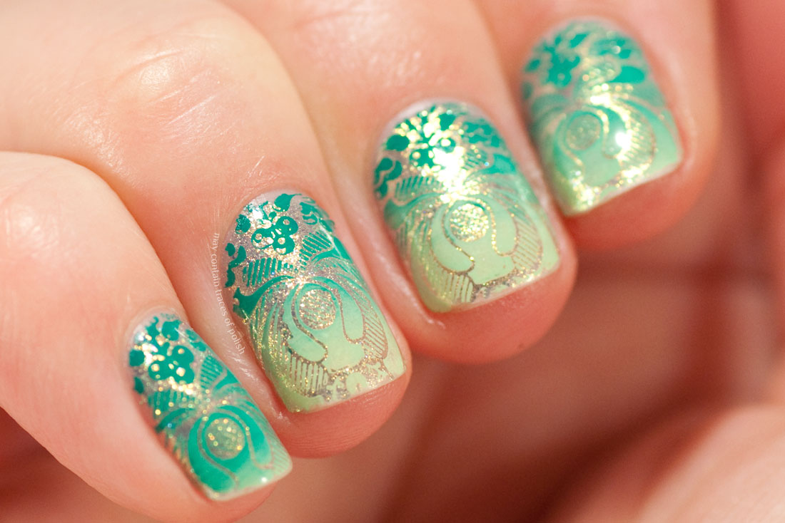 Green and Golden Nail Art stamped with MoYou Flower Power 07