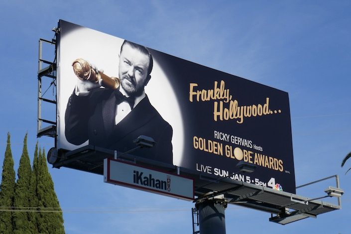 Frankly Hollywood Ricky Gervais 77th Golden Globes billboard