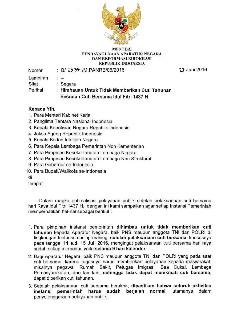 Surat Edaran Menpan RB Tentang Himbauan Untuk Tidak