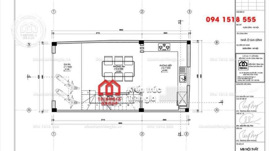 Thiết kế nhà phố 50m2 đẹp 4 tầng 1 tum phong cách hiện đại - Mã số NP1342 - Ảnh 4