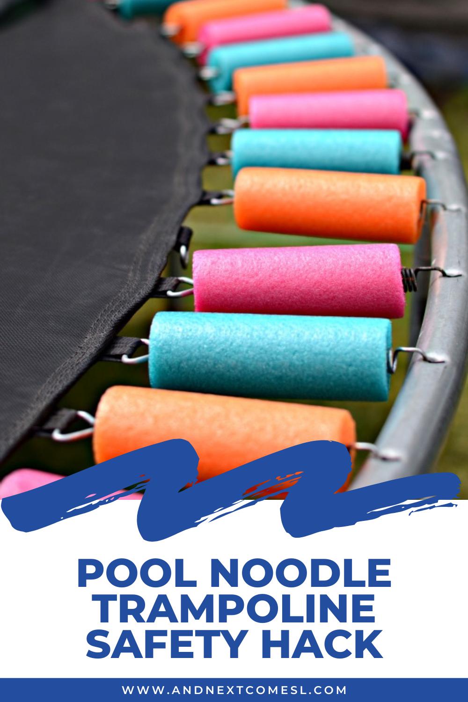 Easy DIY pool noodle trampoline safety hack: how to use pool noodles on trampoline springs
